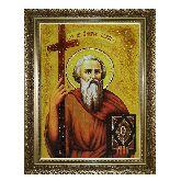 Икона Святого апостола Андрея Первозванного из янтаря