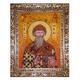 Икона Святого Спиридона Тримифунтского из янтаря