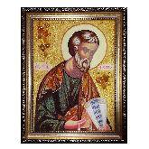 Икона Святой Апостол Петр из янтаря