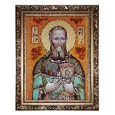 Икона Святой Иоанн Кронштадтский из янтаря