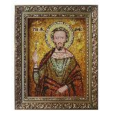 Икона святой мученик Леонид из янтаря