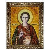Икона Святой Пантелеймон из янтаря