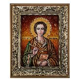 Икона Святой Пантелеймон из камня янтаря