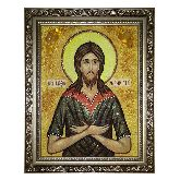 Икона Святой преподобный Алексий из янтаря