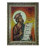 Икона Святой пророк царь Давид из янтаря