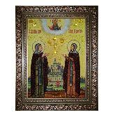 Икона Святые Петр и Феврония из янтаря