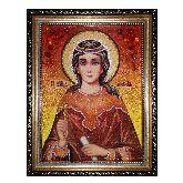 Именная икона Святая Любовь Римская из янтаря