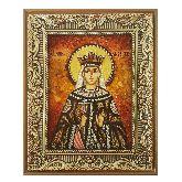 Именная икона Святая Милица Сербская из янтаря