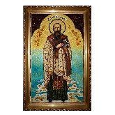 Именная икона Василий Великий из янтаря