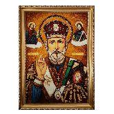 Икона Николай Чудотворец Угодник из янтаря