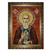 Икона Сергий Радонежский Преподобный из янтаря