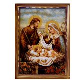 Янтарная икона Святое семейство из янтаря