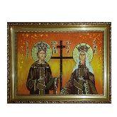 Янтарная икона святые Константин и Елена