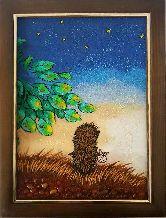 Янтарная картина ёжик и звездное небо