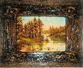 Янтарная картина Осень в лесу