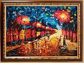 Янтарная картина осенний променад в Париже
