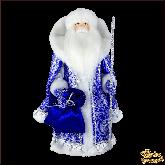 Фарфоровая кукла малая Дед Мороз в синем.