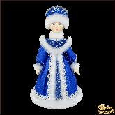 Фарфоровая кукла средняя Снегурочка в синем.