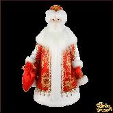 Фарфоровая кукла большая Дед Мороз в красном конфетница.
