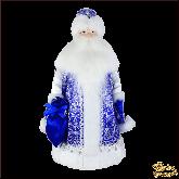 Фарфоровая кукла большая Дед Мороз в синем конфетница.