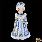 Фарфоровая кукла средняя Снегурочка в серебре.