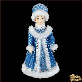 Фарфоровая кукла средняя Снегурочка в бирюзовом.