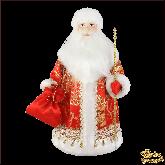 Фарфоровая кукла средняя Дед Мороз в красном.