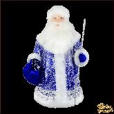 Фарфоровая кукла средняя Дед Мороз в синем.