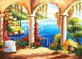 """Картина на холсте """"Терраса на берегу моря"""""""