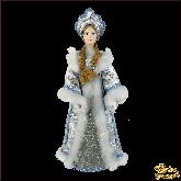 Фарфоровая кукла малая Снегурочка в серебре.