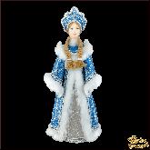 Фарфоровая кукла малая Снегурочка в бирюзовом.