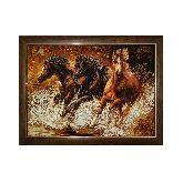 Картина бег лошадей из янтаря