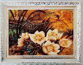 Картина белые лилии из янтаря