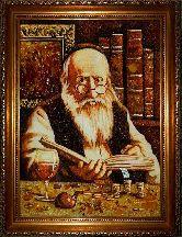 Картина богатый еврей с монетами из янтаря