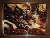 Картина черная кошка из янтаря