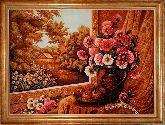 Картина Цветы у окна из янтаря