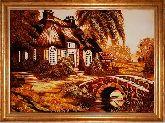 Картина деревня из янтаря