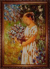 Картина девушка с цветами из янтаря