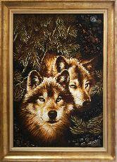 Картина дикие волки из янтаря