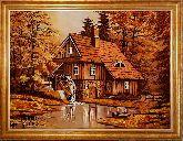 Картина дом в живописном лесу из янтаря