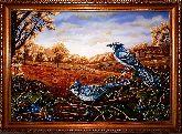 Картина голубые сойки из янтаря