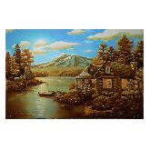 Картина Горное озеро из янтаря