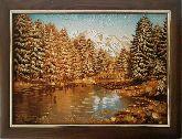 Картина горное озеро пейзаж из янтаря