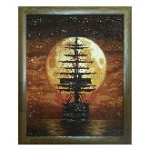 Картина из янтаря корабль и полнолуние