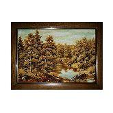 Картина из янтаря лесной пейзаж и речка