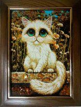 Картина из янтаря очаровательный котенок