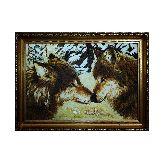 Картина из янтаря Волки в зимнем лесу