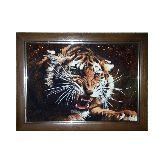 Картина из янтаря злой тигр