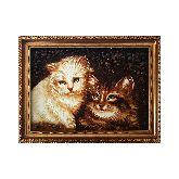 Картина котики из янтаря