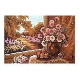 Картина Кувшин с цветами хризантемы из янтаря